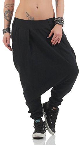 Malito básico Pantalones Bombacho Pantalones Anchos 91086 Mujer Talla Única (Negro)