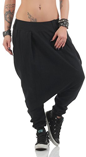 Malito Damen Haremshose mit tiefem Schritt   Jogginghose in Unifarben   Baggy zum Tanzen   Sweatpants - Aladinhose 91086 (schwarz)