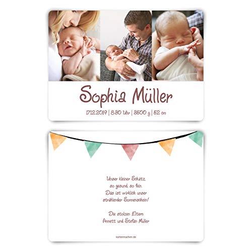 30 x Geburt Danksagungskarten Geburtskarten individuell mit Foto und Text für Mädchen und Jungen - Aquarell Wimpel