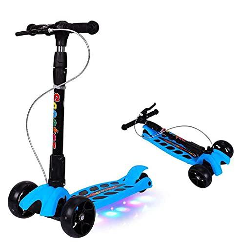 BAIHUO Scooter De Los Niños 3 Ruedas Patear Scooter LED Light RUEDES DE LUZ DE LOS NIÑOS Scooters DE Pieza DE Altura Ajustable para NIÑOS DE 2 A 12 AÑOS 4.22 (Color: Azul)