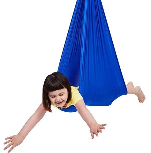 Silla Hamaca CóModo Columpio De Macramé para NiñOs NiñOs Y Adolescentes Yoga IntegracióN Sensorial Camping Al Aire Libre,Blue,1m