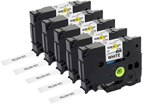 Yellow Yeti 5 Schriftbander TZe-231 TZ-231 schwarz auf weiß 12mm x 8m Etikettenbänd kompatibel für Brother P-Touch PT-1000 PT-H100 PT-D210VP PT-D400 PT-D600VP PT-P700 PT-P750W CUBE Etikettendrucker
