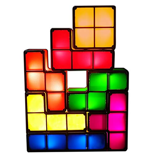 Bitopbi 7 PCS Stackable Night Light 3D Puzzles Toy 7 Colors Magic Blocks Induction Interlocking LED Novelty Desk Lamp Lighting DIY for Teens and Adults Home Deco Great Gift for Birthday