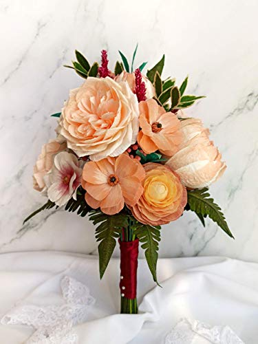 Ramo de novia con peonías y rosas de jardín inglesas