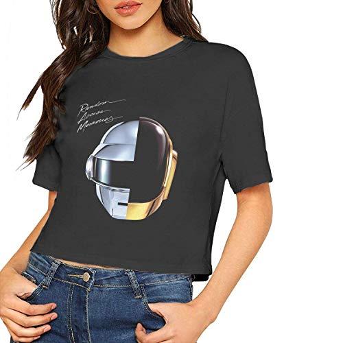 Daft Punk Random Access Memories Short Sleeve T Shirt Women's Sexy Bare Midriff Female Tshirts Crop Top