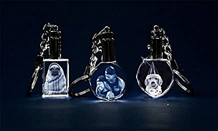 Personalized Laser Engraved Etched 2D Crystal Glass Keychain Key Rings for Gifts with Light