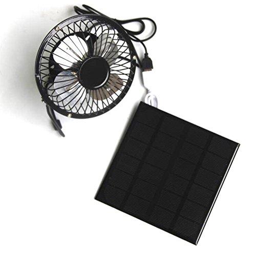 3 W 6 V Solarbetriebener Ventilator, tragbarer Mini-Ventilator, 10,2 cm USB-Anschluss, tragbarer Ventilator für Camping, Wohnwagen, Yacht, Gewächshaus, Hundehaus, Hühnerhaus, Ventilator