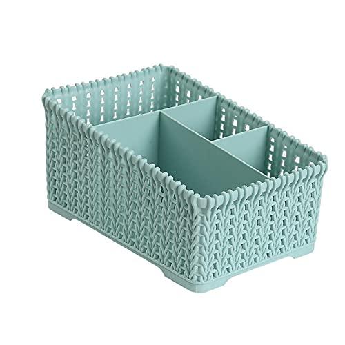 Caja De Almacenamiento De Maquillaje Caja De Almacenamiento De Maquillaje De Ratán De Plástico Escritorio De Plástico Caja De Almacenamiento De Cosméticos Es Muy Adecuado Para El Vestidor De(Color:蓝色)