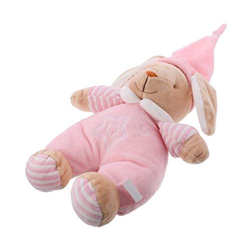 NUOBESTY Animales de peluche musicales juguetes interactivos canto felpa juguete animado regalo dormir calmante juguete para bebés niños rosa 42cm