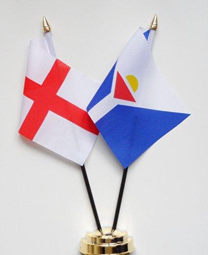 1000 Flags Angleterre et Saint Martin d'amitié Drapeau de table écran 25 cm (25,4 cm) S