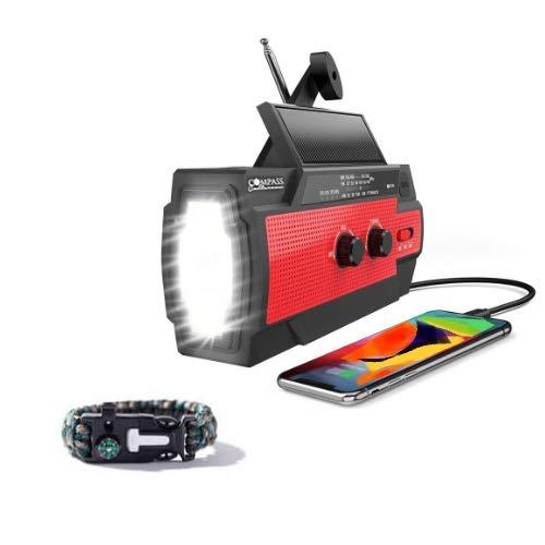 [2021 Newest] Solar+Hand Crank AM/FM/NOAA Weather Emergency Radio + Flashlight & Motion Sensor + 4000mah Cell Phone Charger, Reading Lamp + SOS Alarm + Survival Bracelet Compass Culture Brand