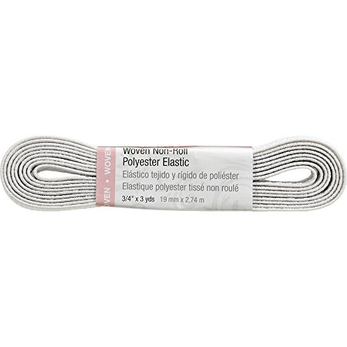 SINGER 70094 Non-Roll Woven Elastic, 3 Yard by 3/4-Inch, White