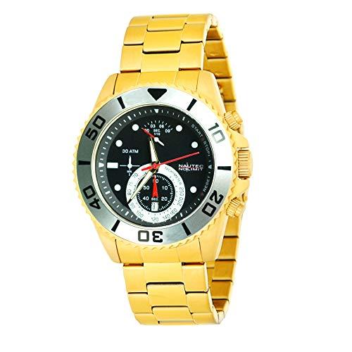 Nautec No Limit Herren Chronograph Quarz Uhr mit Edelstahl Armband COUF-QZ GD-BK