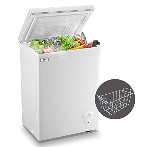 7 Cubic Feet Chest Freezer Free-Standing Top Door Freezers with Saving Energy Efficiency and Low-Noise Black Adjustable Temperature with 4 baskets for Home//Kitchen//Bar