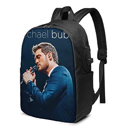 Rononand backpack Zaino Con porta di ricarica USB Zaino per laptop impermeabile casual elegante Borsa da viaggio ultraleggera An Evening with Michael Buble