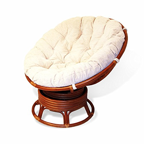 Papasan Swivel Chair Natural Rattan Extremely Comfy ECO Handmade w/Cream Cushions