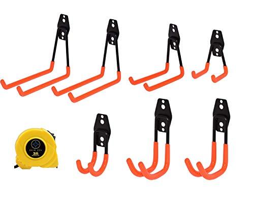 Rhin Zen J or L Hooks for Hanging Skateboard, Headphones, Pull Up Bars, Kayak, Bike, Shovel, Ladder, Hose, Garden & Power Tools, Wall Mount Display Organizer for Garage 7 Pack w/Free Measuring Tape.