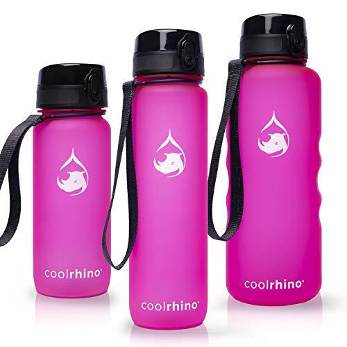coolrhino Trinkflasche 350ml für Sport, Kinder, Schule, Fitness & Outdoor - Wasserflasche auslaufsicher und Bpa frei - Flasche für Kohlensäure geeignet (Rhino Pink, 350ml)