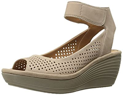 CLARKS Women's Reedly Salene Wedge Sandal, Sand Nubuck, 7.5 M US