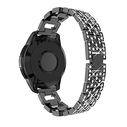 WSYGHP Correa de reloj de acero inoxidable de 22 mm y 20 mm para Samsung Galaxy Watch de 46 mm/42 mm de diamante para mujer, correa de reloj Gear S3 (color: correa de reloj de 20 mm, tamaño: negro)