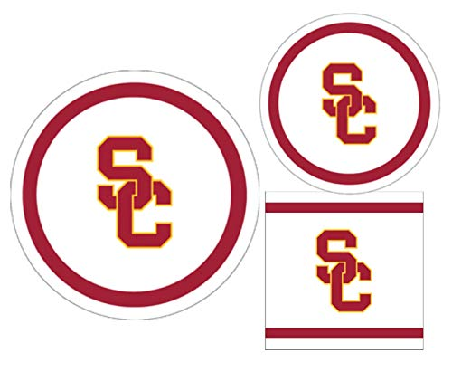 USC Trojans Party Supplies - Bundle Includes Paper Plates and Napkins for 10 People