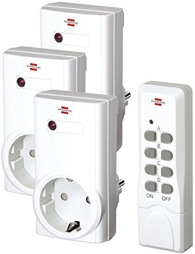 4 Stück Brennenstuhl Funkschalt-Set RCS 1000 N Comfort, 3er Funksteckdosen Set (mit Handsender und Kindersicherung) Farbe: weiß (insgesamt 12 Funkdosen)