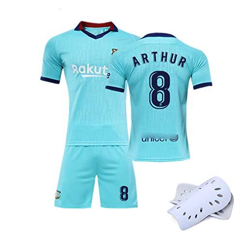 CHSC Fußballuniform # 10 Messi # 8 Iniesta Trikot Set, 2018/19 Startseite Kurzarm Shorts Schienbeinschoner Training Wettkampfanzug für Männer Geschenk 1 Set Kleidung SkyBlue(#8)-18