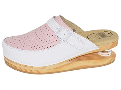 LUVER gefederte Damen Clogs weiß/rosa - Federschuhe - clgjr120wr, Weiß/Pink, Größe: 40