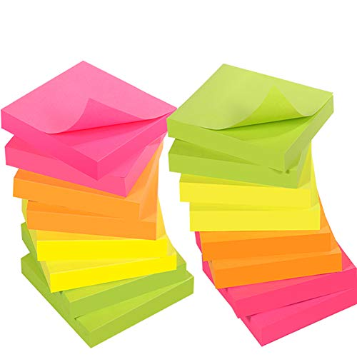 Sticky Notes 3x3 Inches, Reliably Post Notes Stick and Re-Stick,4 Neon Colors Recyclable Sticky Pads for Reminders, Self-Stick Notes for Office, School, Home, 16 Pads, 100 Sheets/Pad (4Colors-16Pads)