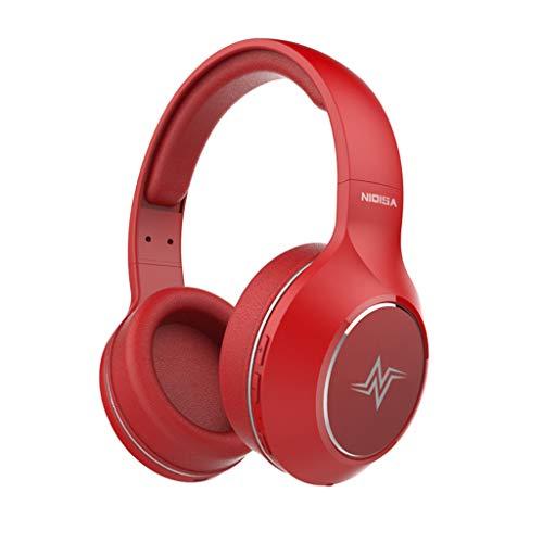 Drahtloser Bluetooth 5.0 Kopfhörer Stereo Kopfhörer Super Bass Headset Mic(rot)