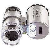 BINGFANG-W 60X Mini Pocket LED Joyeros UV Joyeros Lupa Microscopio Vidrio Joyería Lupa Aumento