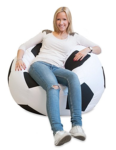 Sillon Puff Balon Soccer Grande Blanco con Negro, Envio Gratis!