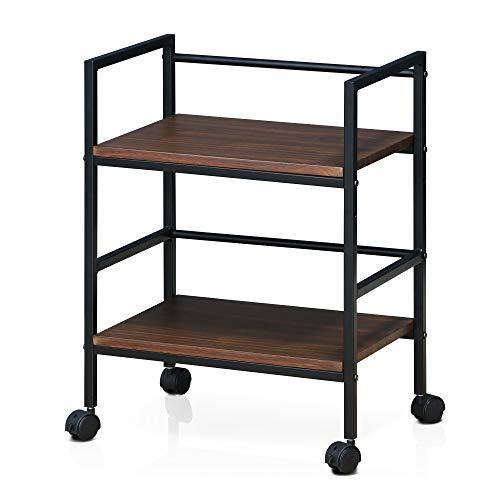 Furinno Modern Storage Cart, Dark Walnut