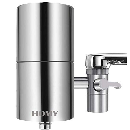 HOMY Faucet Mount Water Filter, SUS304 Stainless Steel Housing & Multiple High Precision Filtration...