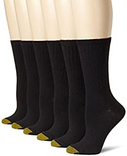 Gold Toe Men's Cotton Crew Athletic Sock, Black 6pk