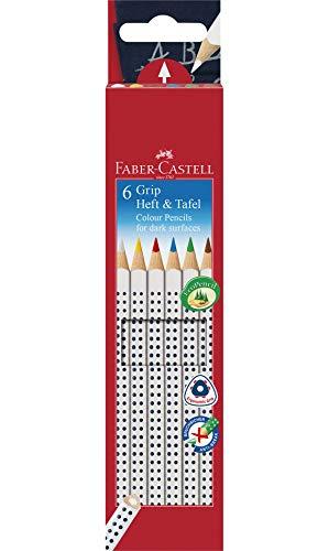 Faber-Castell 113210 - Buntstifte GRIP Heft + Tafel, 6er Etui, Inhalt: weiß, gelb, rot, blau, grün und braun