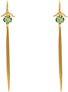 Gehna Yellow Gold and Emerald Drop Earrings For Women and Girls