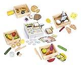 Leomark Holzspielset - 5 in 1 - EIN Set mit Lebensmitteln für Kinder mit Klett-Verbindung (Obst Gemüse), Kinderküche, Kaufladen + Holz Registrierkasse mit Zubehör