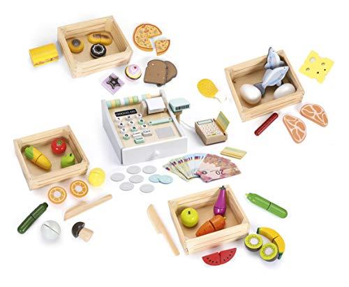 Leomark Juego de imaginación Comida con 4 Caja de Madera - 5 en 1 - Alimentos Juguetes para niños, Cortar Frutas y Verduras + la calculadora y Lector de Las Tarjetas