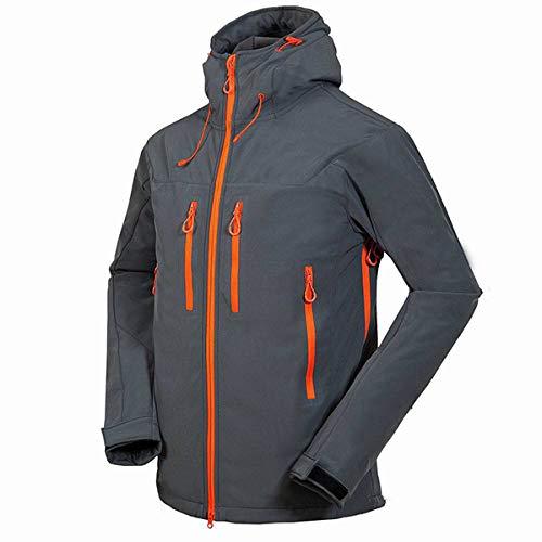 HIUGHJ Outdoor-Skijacke, Herren Windproof Thermal Softshell Snowboard Skijacken Snow Skiwear Kleidung Wandern Sportbekleidung, grau, XXL