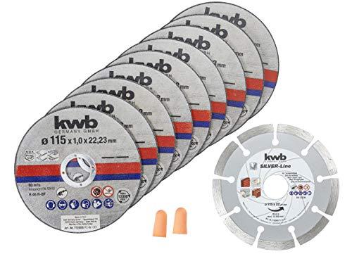kwb 712031 dunne diamantdoorslijpschijf voor haakse slijpers 115 mm flex-schijf voor edel-staal INOX in bewaardoos incl. oordopjes 115 x 1,0 x 22,23