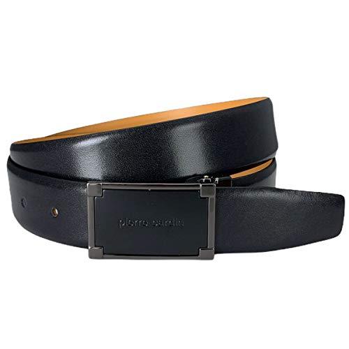 Pierre Cardin Mens leather belt/Mens belt, Letaher belt curved with plate buckle, black, Größe/Size:100, Farbe/Color:noir