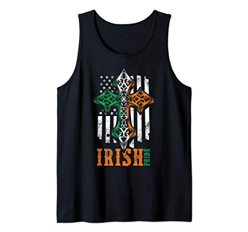 Irish American Flag Celtic cross Tank Top