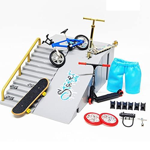 DDHH Juego de rampa de skate para dedo con rampas de skate con un dedo Skateboard Ultimate Park Set Rampas
