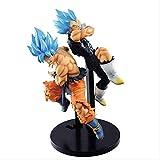 XFHJDM-WJ Navidad 2 unids/Set Dragon Ball Super Movie Broly Fighters Goku Vegeta SSJ Blue Hair Figure Brinquedos PVC Figuras de acción Juguetes Kid Gift 17 Cm TS9