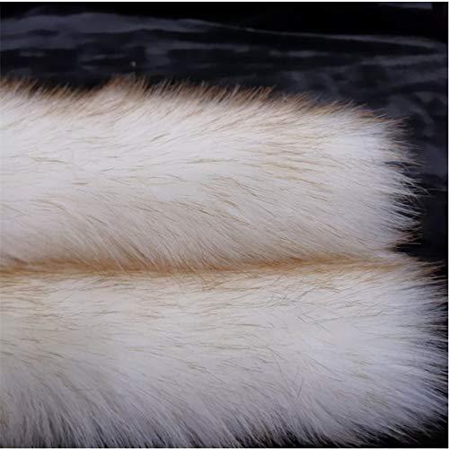 LOOGOOL Kunstpelz-Stoff, weiß gefärbte braune Spitze, künstlicher weicher flauschiger Stoff für Mantelkragen, Kissenbezug, Plüschspielzeug, Basteldekorationen, 20,3 x 30,5 cm