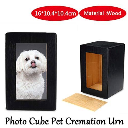 Gedenk Holz Foto Cube Pet Einäscherung Schwarz Urn, Hund Urn, Katze Urn, Kleintier Urn, Pet Memorial Keepsake Urn 4.09 * 4.09 * 6.30
