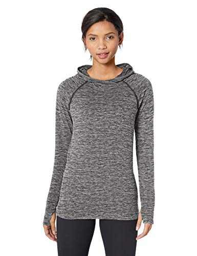 Amazon Essentials Women's Brushed Tech Stretch Popover Hoodie, Dark Grey Space dye, Large