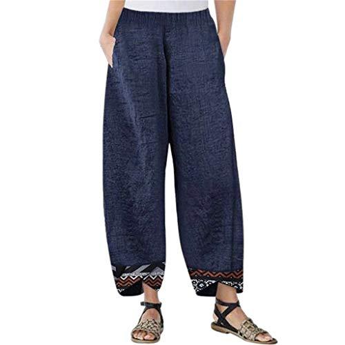 Huaya Mode Damen Tasche Irregulär Drucken Spleißen Lose Baumwolle Leinen Hose