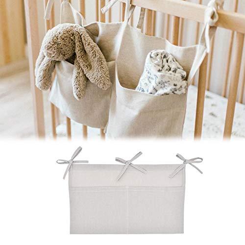 Kinderzimmer Hängender Bett Organizer,Krippe Lagerung hängende Tasche Leinen Doppelfach Lagerung hängende Tasche multifunktionale Wickeltasche Handtuch Molar Spielzeug Aufbewahrungstasche